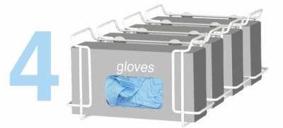Single Wire Glove Box Dispenser- White (4 pack)