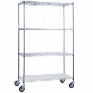 Linen Cart 24x36x72 with Solid Bottom 16 gauge Chrome Plated Shelf