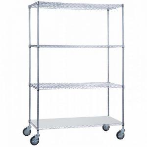 Linen Cart 24x48x72 with Solid Bottom 16 gauge Chrome Plated Shelf