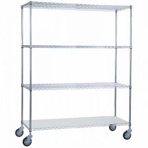 Linen Cart 24x60x72 with Solid Bottom 16 gauge Chrome Plated Shelf
