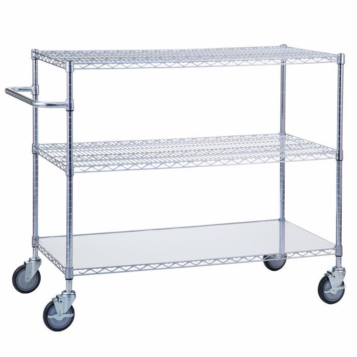 Linen Cart 18x48x42 with Solid Bottom 16 gauge Chrome Plated Shelf