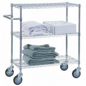 Linen Cart 24x36x42- 3 Wire Shelves