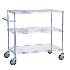 Linen Cart 24x36x42 with Solid Bottom 16 gauge Chrome Plated Shelf