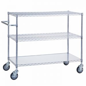 Linen Cart 24x48x42 with Solid Bottom 16 gauge Chrome Plated Shelf
