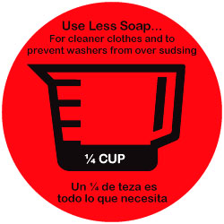 DECAL - USE LESS SOAP 1/4 CUP