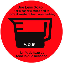 DECAL - USE LESS SOAP 1/2 CUP