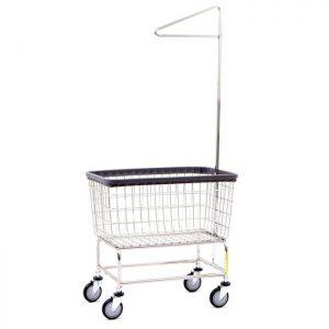 Large Capacity Laundry Cart w/ Single Pole Rack