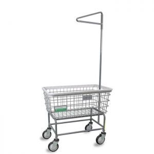Antimicrobial Large Capacity Laundry Cart w/ Single Pole Rack