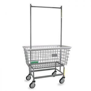"Antimicrobial Mega Capacity ""Big Dog"" Laundry Cart w/ Double Pole Rack"