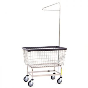 "Antimicrobial Mega Capacity ""Big Dog"" Laundry Cart w/ Single Pole Rack"
