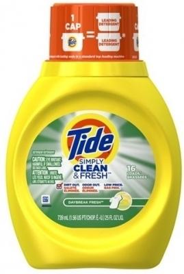 TIDE SIMPLY CLEAN & FRESH LIQUID 25OZ 6/CS - 16 loads
