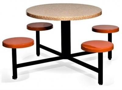 "4 Fiberglass Seats & 36"" Diameter Table - For Use With Umbrellas"