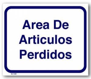 #L116S SIGN---LOST & FOUND AREA (SPANISH)