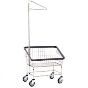 Large Capacity Front Load Laundry Cart w/ Single Pole Rack
