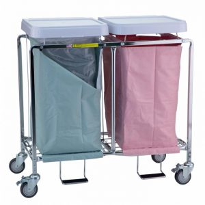 Double Easy Access Hamper with Foot Pedal (specify bag color