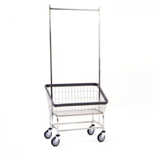 Large Capacity Front Load Laundry Cart with Double Pole Rack*