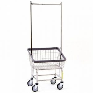 Front Load Laundry Cart with Double Pole Rack