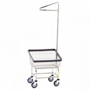 Front Load Laundry Cart with Single Pole Rack